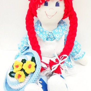 "flowered hat cloth rag doll ""hot red"" pigtails dark blue eyes ragdoll doll raggedy NF102"