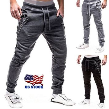 Fashion Men's Gym Sport Trousers Tracksuit Bottoms Skinny Joggers Sweat Pants US