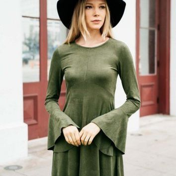 Faux Suede Bell Long Sleeve Dress