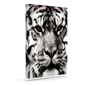 "Suzanne Carter ""Tiger Face"" Gray Animal Canvas Art"