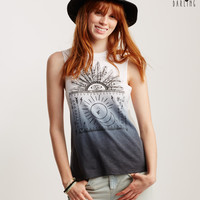 Tokyo Darling Dip-Dye Tribal Feathers Graphic Tank