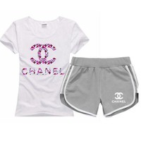 Chanel Popular Unisex Leisure Sport T-Shirt Top Tee Shorts Set Two-Piece I