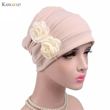 2017 Women Flowers Chemo Hat Beanie Scarf Turban Head Wrap Keep Warm Winter Hats for Women Beanies Muslim mujer Cap caps JY4Z