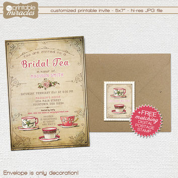Rustic bridal shower tea party invitation / Vintage inspired printable tea party invite / Custom digital shabby chic bridal tea invites