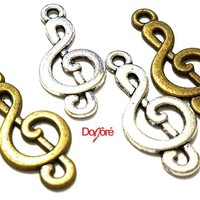 Pack of 20 Musical Note Charms. Different Colours. Music Treble Clef Pendants. 10mm x 23mm