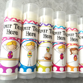 Gymnastics Party Favors/ Set of 6/Gymnastics/Party Favors/Girl Birthday Party/Lip balm/Chapstick Party Favor/Gift Bags
