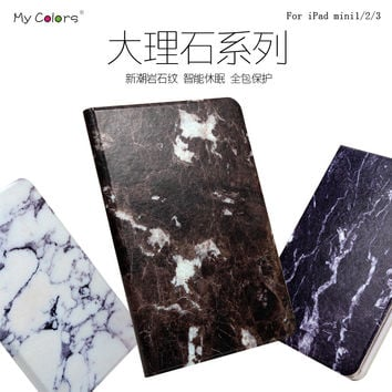 Case for iPad Mini 1 2 3 Leather Cover Marble design for iPad New Original Smart Stand Wake&Sleep Cute Luxury Brand
