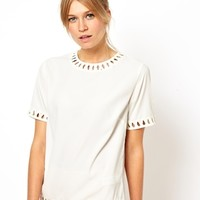 ASOS Top with Macramé Insert Trim - Cream