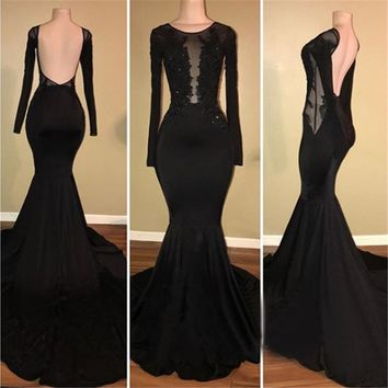 Backless Black Mermaid Long Sleeve Evening Dress 2018 New Design Illusion Appliques Elastic Satin Long Prom Gowns Robe De Soiree