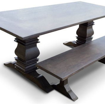 Driftwood Grey Berkley Farmhouse Table with Matching Bench