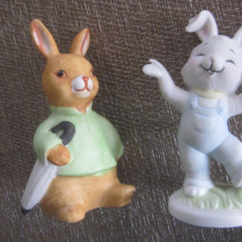 Vintage Bunny Rabbits, Easter Bunny Rabbits, Ceramic Bunnies. 70s Easter Decor, Baby Nursery, Rabbit Figurines, Hand Painted Easter Bunnies