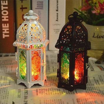 2016 Vintage Metal Hollow Candle Holder Color Glass Crystal Moroccan Candlestick Hanging Lantern Wedding Decor T0.5