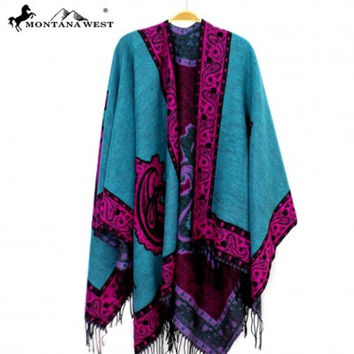 Western Paisley Fringe Cape Poncho by Montana West PCH-1649