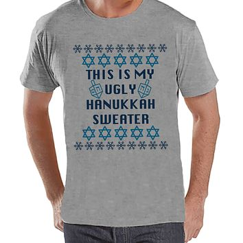 Ugly Hanukkah Sweater - Men's Funny Ugly Sweater Grey T-shirt - Mens Funny Happy Hanukkah Outfit - Hanukkah Gift Idea - Ugly Sweater Party
