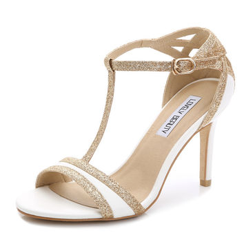 Summer Sexy High Heels Open Toe White High Heel Sandals Cogs Women Sandals 2015 Black t Strap Gold White heel Sandals
