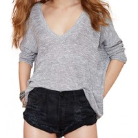 Knitted V Neck Oversized Batwing Jumper
