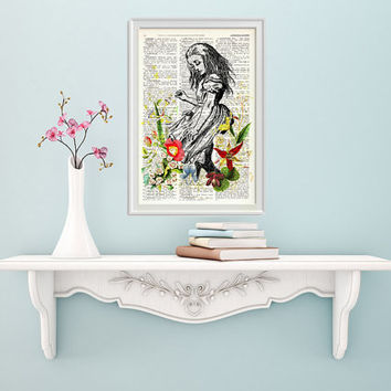 Alice in wonderland decor - Alice in wonderland with wild Flowers - Alice in Wonderland wall art, Wall decor Alice print, nursery art BPAW01