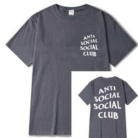 "Fashion loose leisure print""anti social social club"" T-shirt grey"