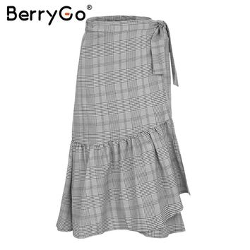 BerryGo Ruffle plaid wrap skirt women bottom Vintage irregular long skirt female High waist sashes button casual maxi skirt 2017