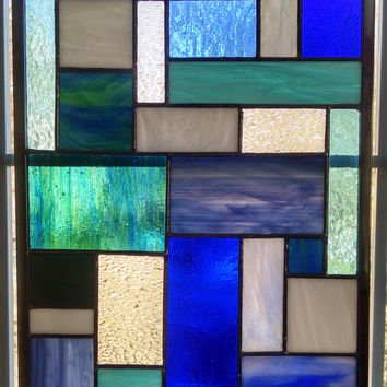 Abstract Geometric Stained Glass Panel - Shades of Blue III - Blue Stained Glass Window