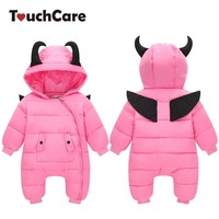 TouchCare Halloween Little Devil Baby Rompers With Wing Newborn Infant Girl Jumpsuits Winter Outerwear Down Parkas Warm Clothes