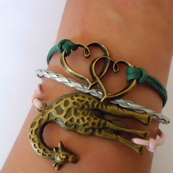 Karma bracelet bangle bracelet bronze giraffe , unlimited bracelets, braided leather