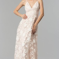 Print Organza Long V-Neck Prom Dress in Blush Pink
