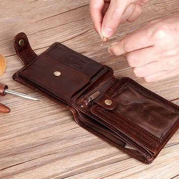 Real Cowhide Leather Wallet Clutch Men's Wallets Coin Purses ✈ Free Worldwide Delivery