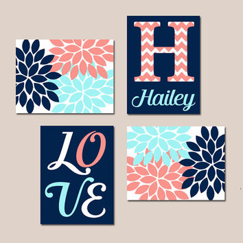 NAVY CORAL Aqua Nursery Wall Art Canvas or Prints Baby GIRL Love Flower Burst Girl Bedroom Artwork Girl Monogram Name Set of 4 Crib Decor