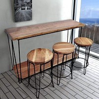 Rectangular Bar Dining Table With 3 Round Stools, Pack Of 4, Brown and Black By The Urban Port