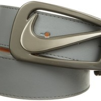 Nike Men's Signature Swoosh Cut Out Belt, Gray, 40