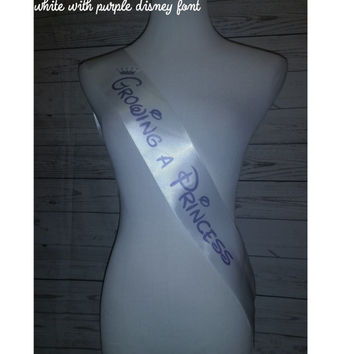 Growing a Princess Sash, Posh White Baby Shower Sash for Mommy To Be to wear at Baby Shower or Baby Sprinkle, Rhinestone Pin Included Free