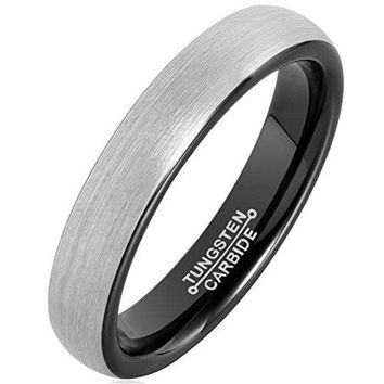 4mm Silver Black Tungsten Carbide Ring Simple Style Wedding Jewelry Engagement Band Matte Finish