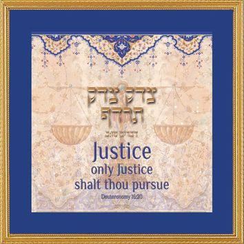 Scale of Justice Framed Art Print by Mickie Caspi, Wall Size: 18 x 18