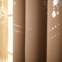 "Cocoa Shimmering Chandelier Foil Printed Grommet Top Blackout Curtain 84"""" L Pair"