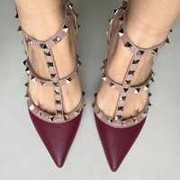 woman high heels wedding  shoes rivet pumps pointed toes thin heels 8cm and 10cm  PU shoes big size 41 42 free shipping matt