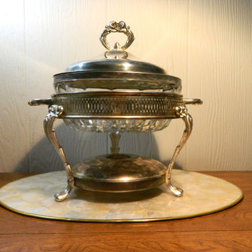 Silver Plate Chafing Dish With Crystal Bowl