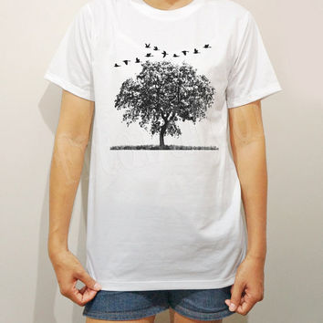 Bird Tree TShirts Bird TShirts Art TShirts Funny Shirts Animal Shirts White TShirts Men TShirts Unisex TShirts Women TShirts - Size S M L XL