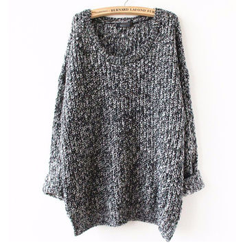 Oversized Sweater Autumn winter sweaters women pull femme knitwear long sleeve o-neck long pullover 2016 tricot kerst trui knit