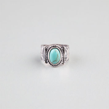 Full Tilt Textured Band Turquoise Stone Ring Silver