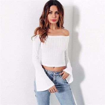 Womens Off-Shoulder Long Flare Sleeve Top