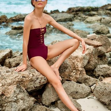 Merlot Strapless One Piece Swimsuit