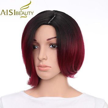 """AISI BEAUTY 10"""" Ombre Red Color High Temperature Fiber Synthetic Hair Short Straight Wigs for Black Women"""