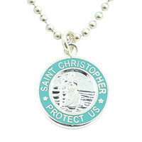 Get Back Supply Co — Small Silver-plated St. Christopher Medals (Silver-Teal)