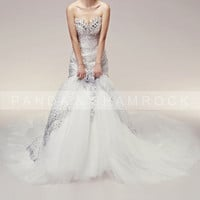 Luxury/wedding gown/bridal dress/fish tail/custom made/all size/beading/train/sweetheart neckline