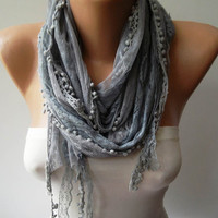 Grey Lace Shawl / Scarf with Pompom by SwedishShop on Etsy