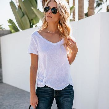Knot Notion Distressed Linen Tee - Off White
