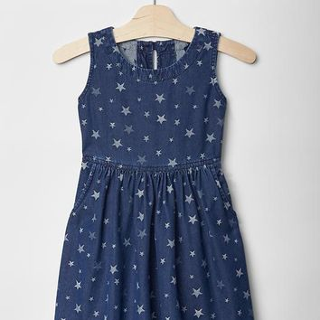 Gap Girls Star Denim Fit & Flare Dress