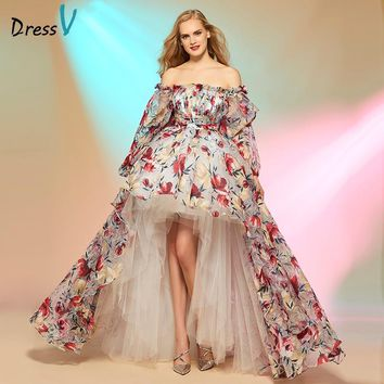 Dressv prom dress cinderella asymmetry high low print off the shoulder long sleeves prom dress fashion custom made party dresses
