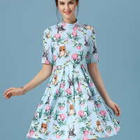 Sky Blue High Neckline Animal and Floral Print Skater Dress